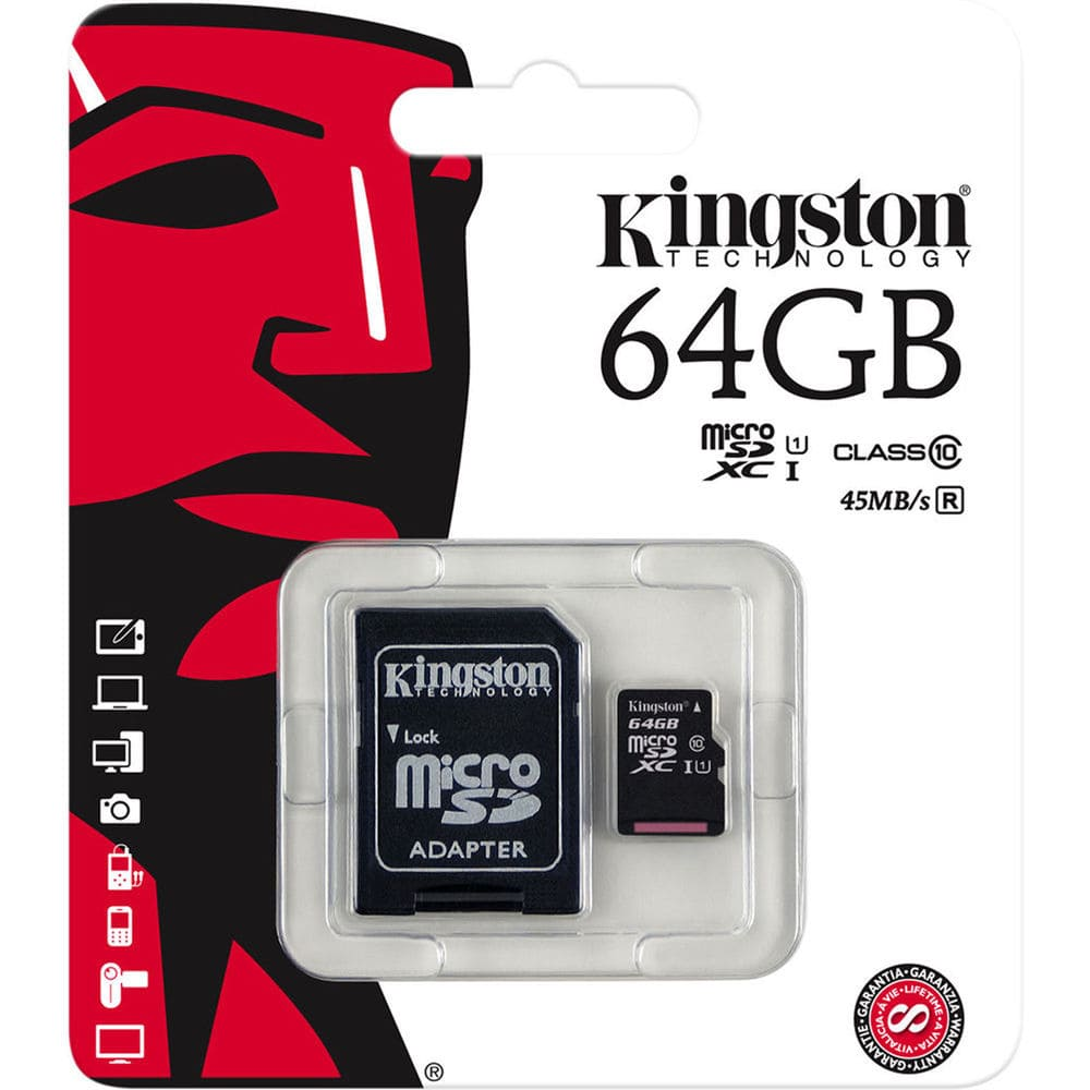 Memoria Kingston MicroSD 64GB Class 10 -Negro